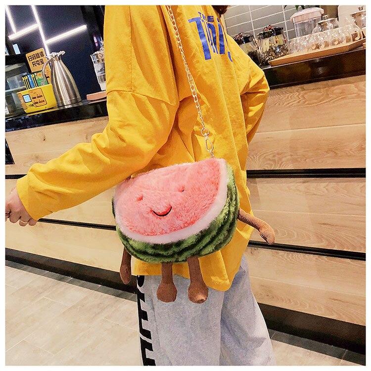 New 2020 Watermelon Cute Kids Girls Bags Women Dolls Plush Messengers Bags Handbag Cartoon Shape Crossbody Bags Shoulder Bag
