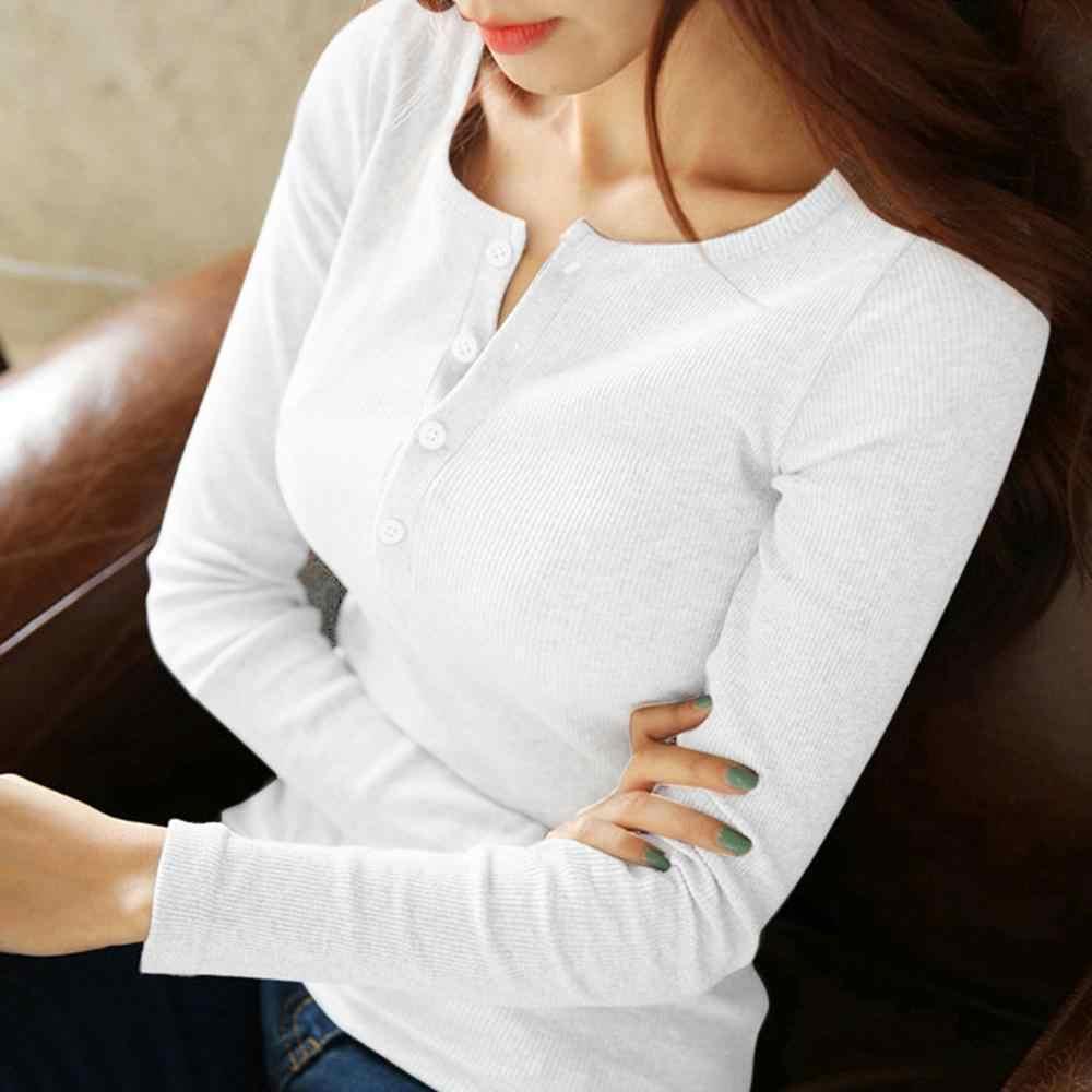 女性韓国シャツ Close フィッティングボタン長袖女性トップス Tシャツカジュアルファッション Tシャツ女性服 ropa mujer 여자의 티셔츠