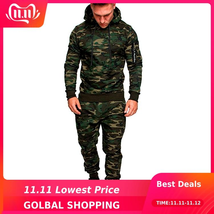 2019 Winter Tracksuit Men Camouflage Sportswear Hooded Sweatshirt Jacket+Pant Sport Suit Male Chandal Hombre Survetement Homme