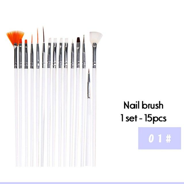 10Pcs/Set Nail Art Tool Set Manicure Buffers Glitter Nail Brush Dotting Pen Line Stickers Decorations Kit Artificial for DIY 2
