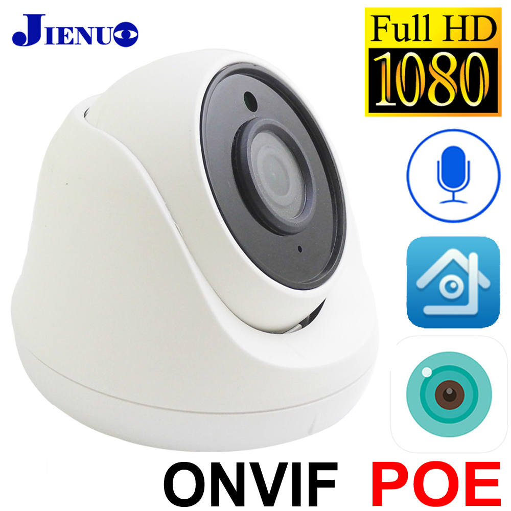 JIENUO POE IP Camera 1080P HD Cctv Security Surveillance Built-in Microphone Night Vision Infrared Video H.265 AI Dome Home Cam