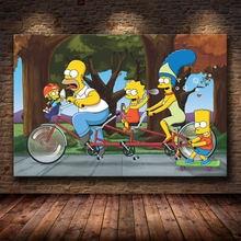 Модульная холщовая картина с изображением семьи из мультфильмов