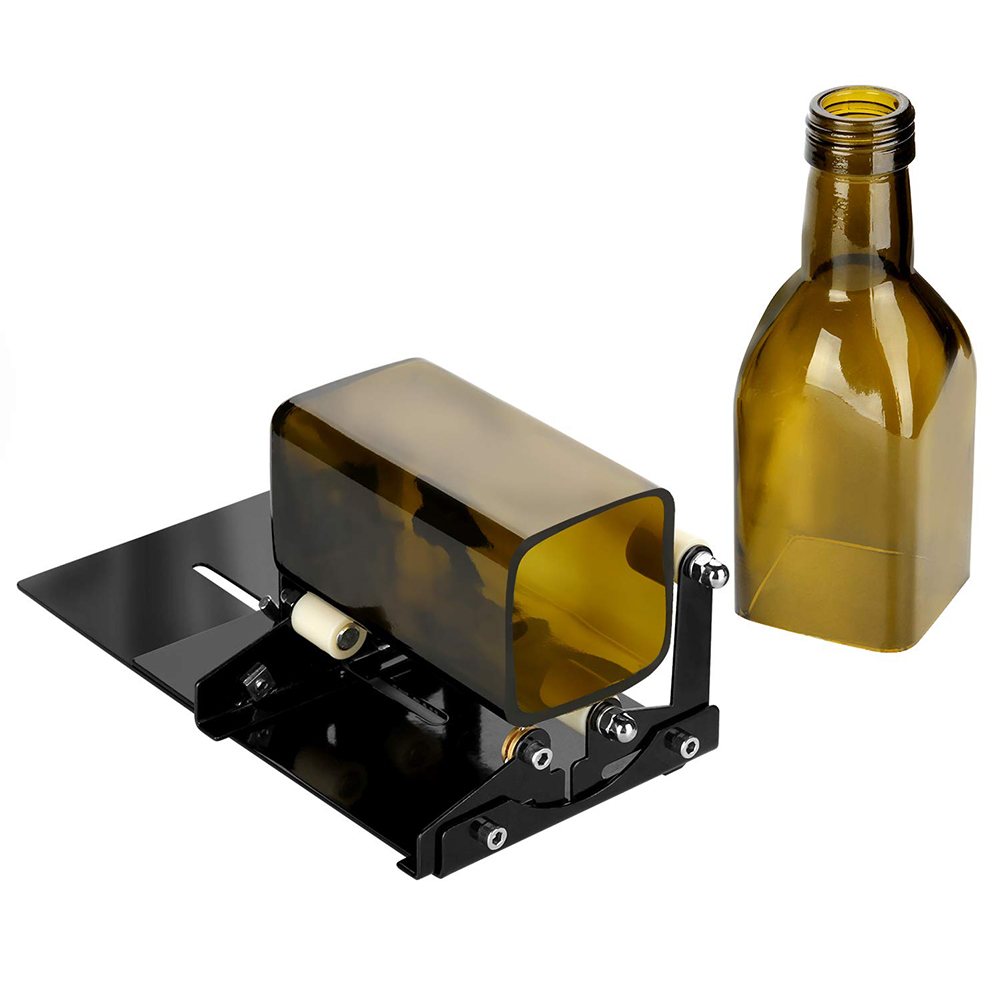 Glass Bottle Cutter Glass Cutting Machine Metal Pad Bottle Holder Square And Round Wine Beer Glass Sculptures Cutter For Artwork