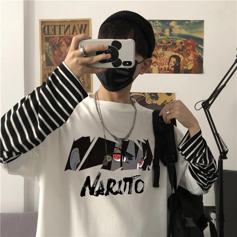 Japan Harajuku Naruto Men Printed Male T Shirt Top Tee Male Hiphop Streetwear False Two Pieces Long Sleeve Tshirts Tees Tops