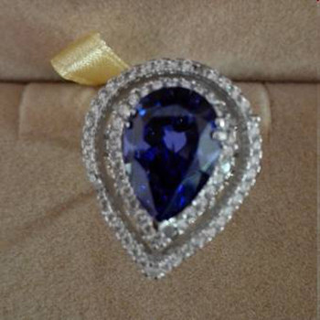 Qi Xuan_AAA Blue Stone Rings_Fashion Rings_S925 Solid Sliver Blue Stone Pear Shaped Rings_Manufacturer Directly Sales