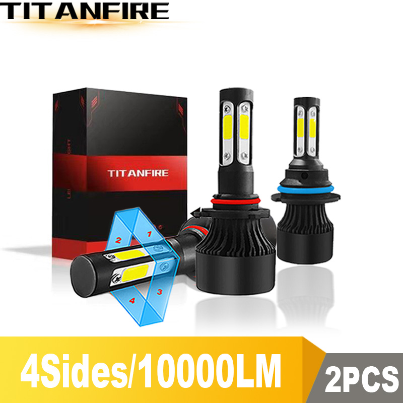 DS New 4 Side Lumens 100W 10000LM COB H4 Hi Lo H7 H11 9005 9006 Car LED Headlight Bulbs Auto Led Headlamp LED Light 12v 24v