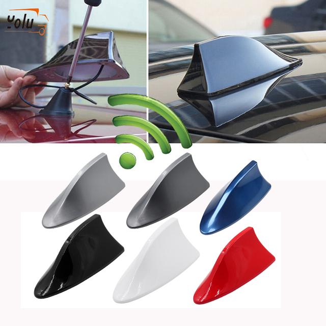 YOLU Car Shark Fin Antenna Auto Radio Signal Aerials Roof Antennas for BMW/Honda/Toyota/Hyundai/VW/Kia/Nissan Fin On Car