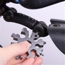 18-em-1 multifuncional cartão de ferramenta do floco de neve portátil reparação bicicleta chave de fenda chaveiro abridor de garrafa acessórios ao ar livre