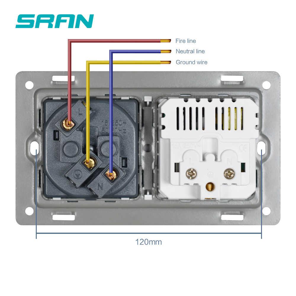 SRAN EU 2 갱 전원 소켓, 16A 전기 플러그 접지 된 숨기기 LED 표시기, usb, 146mm * 86mm pc 흰색 벽 소켓 소켓