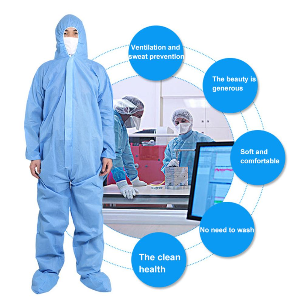 Unisex Disposable No Woven Waist Tight Zip Hood DustProof ProtectionCoverall Medical-Uniform Safely Security Protection Clothes