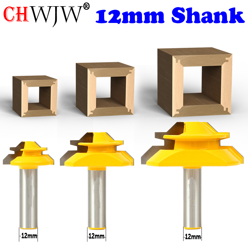 CHWJW 1PC 12mm Shank Industrial Quality Medium Lock Miter Router Bit With 45Degree 3/8-1 Inch Stock Woodworking Milling Cutter