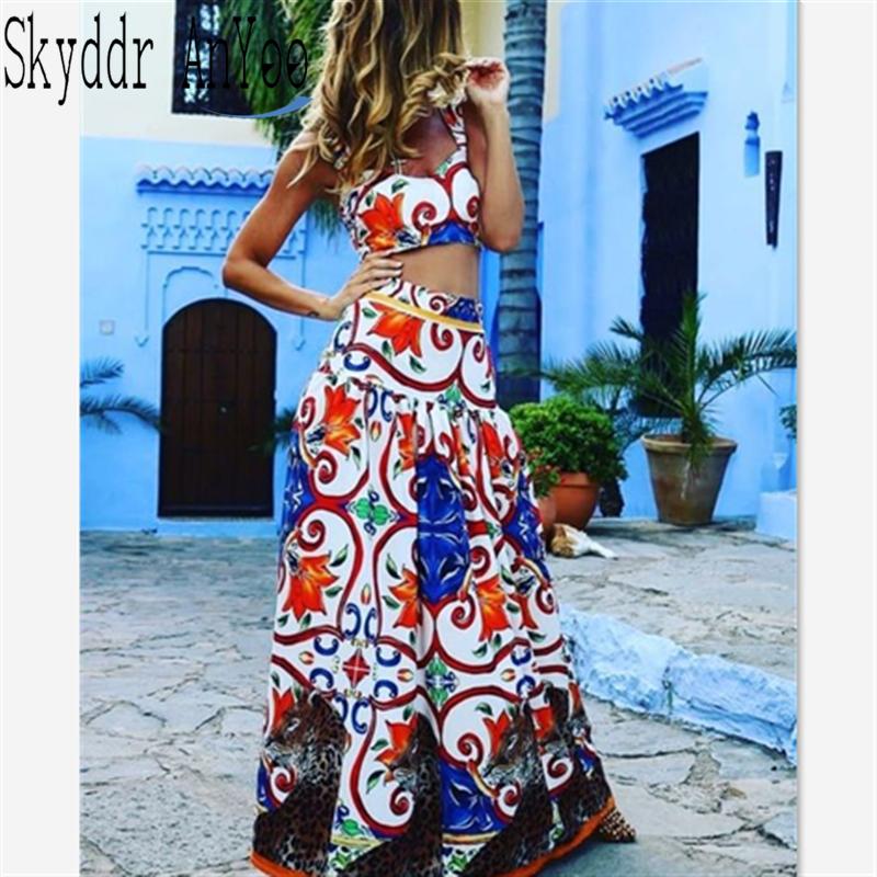 Women Boho Beach Dress Two Piece Set Summer Dress 2020 Vintage Printed Pad Crop Top Sexy Maxi Dresses Plus Size Long Vestidos|Dresses| - AliExpress