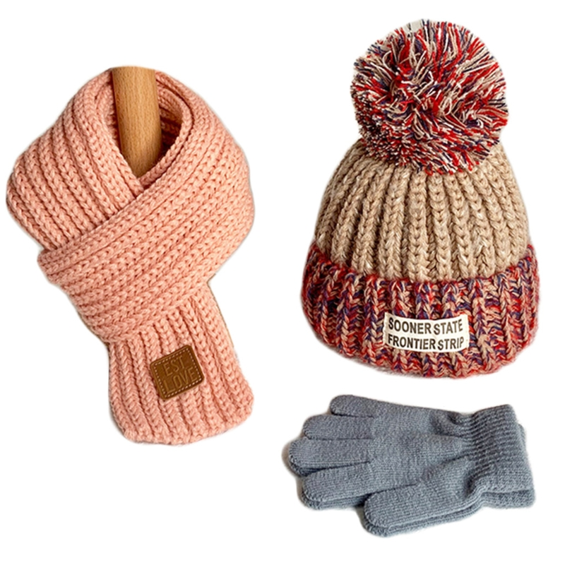 Children Kids Winter 3Pcs Cable Knit Beanie Hat Circle Scarf Set Cute Pompom Contrast Colo Cap Ski Neck Warmer 4-12 Years Old