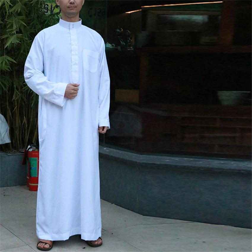 Saudi Arab Full Sleeve Abaya Islamic Clothing Men Long Robe Kaftan Muslim Clothing For Men Pakistan Pray Plus Size Jubba Thobe