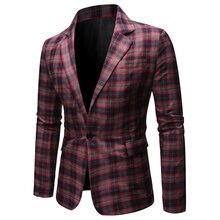 2020Spring высокое качество мода повседневная пиджак плед костюм топ смарт свободного покроя плед пиджак мужская западный цветочный куртка Blazer
