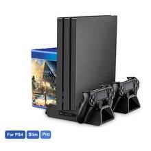 עבור PS4/PS4 Slim/PS4 פרו אנכי Stand עם קירור מאוורר כפול בקר מטען תחנת טעינה עבור SONY פלייסטיישן 4 Cooler