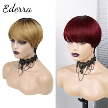 Short Straight Honey Blonde Color  Pixie Cut Wavy Non Lace Human Hair   With Bangs For Black Women  Brazilian 99J