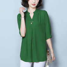 L-4XL Plus Size Women Blouses Summer Autumn Shirts Fashion Chiffon Blouse Office Ladies Tops V Neck Oversize Blusas Mujer Green