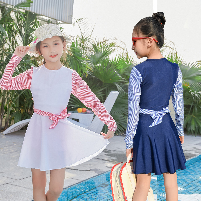 Korean-style Children Swimsuit Skirt One-piece GIRL'S Large Children Cute Baby Hot Springs Swimwear 2019 New Style