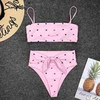 Simplee Bandeau bikini 2019 micro bathers Push up sexy swimsuit female High waist swimwear women bathing suit biquini Summer