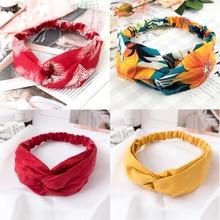 Women Cross Solid color Hair Bands Girls Print Flower Headbands Fashion Turban Make up Hair Accessories FD127