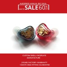 Hisenior היברידי באוזן Custom צגי אוזניות H9 עם 2 דינמי 16 מאוזן אבזור נהגים 8Core שדרוג כבל