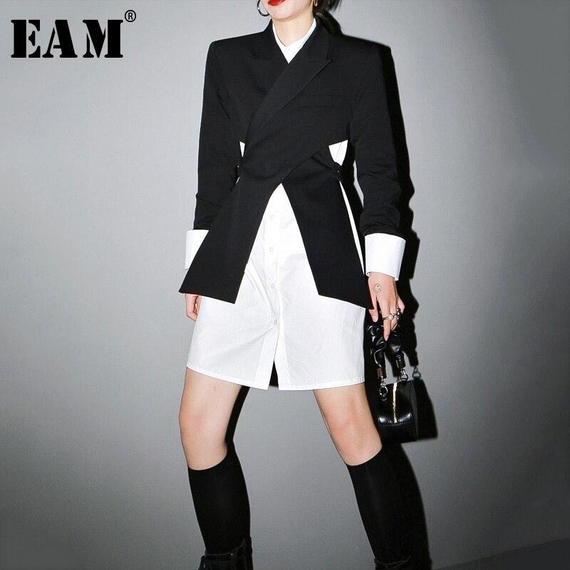 [EAM]  Women Black Cross Split Joint Blazer New Lapel Long Sleeve Loose Fit  Jacket Fashion Tide Spring Autumn 2020 1T447