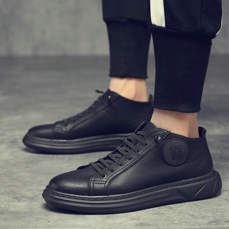 Men Zapatos Hombre Casual  Flats Shoes Spring New Men  Fashion All  Black  Sneakers Men  Leather Flats Shoes  A55-46