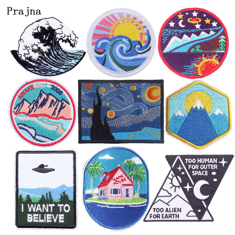 Prajna Landscape Patch Embroidered Patches For Clothing Painting Iron On Stickers Mountain Camp Badges DIY Stripes Applique Deco