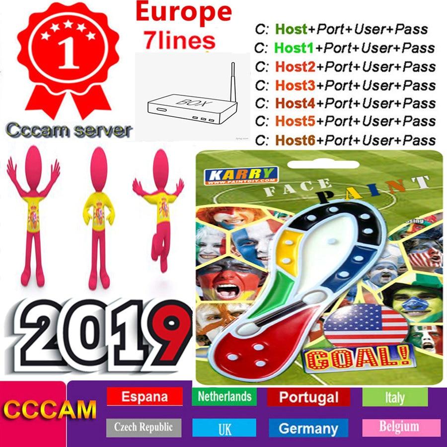 1 Year 7 Lines Ccam Spain Cccam Espa A For Europe Portugal Poland Italy French UK DVB S2 Cable Dish Tv Receivers V8 Nova Oscam