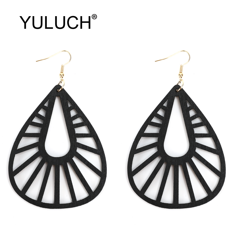 YULUCH Ethnic African Indian Hyperbole Water Drop Long Earrings Fashion Jewelry For Woman Hollow Natural Wood Pendant Earrings