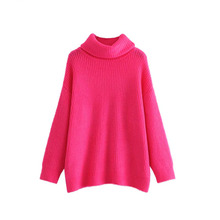 women turtleneck knitted loose sweater oversized warm thick long sleeve pullovers