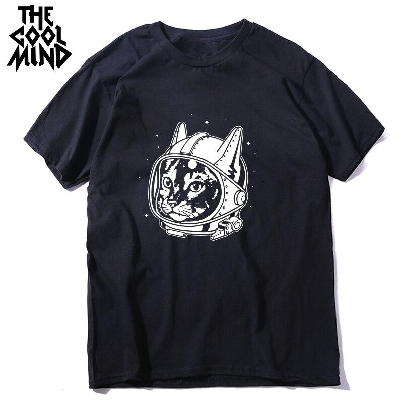 COOLMIND Qi0443A Cotton Short Sleeve Space Cat Print Men T Shirt Casual Loose O-neck Men Tshirt Male T-shirt Tees Shirts LMYX