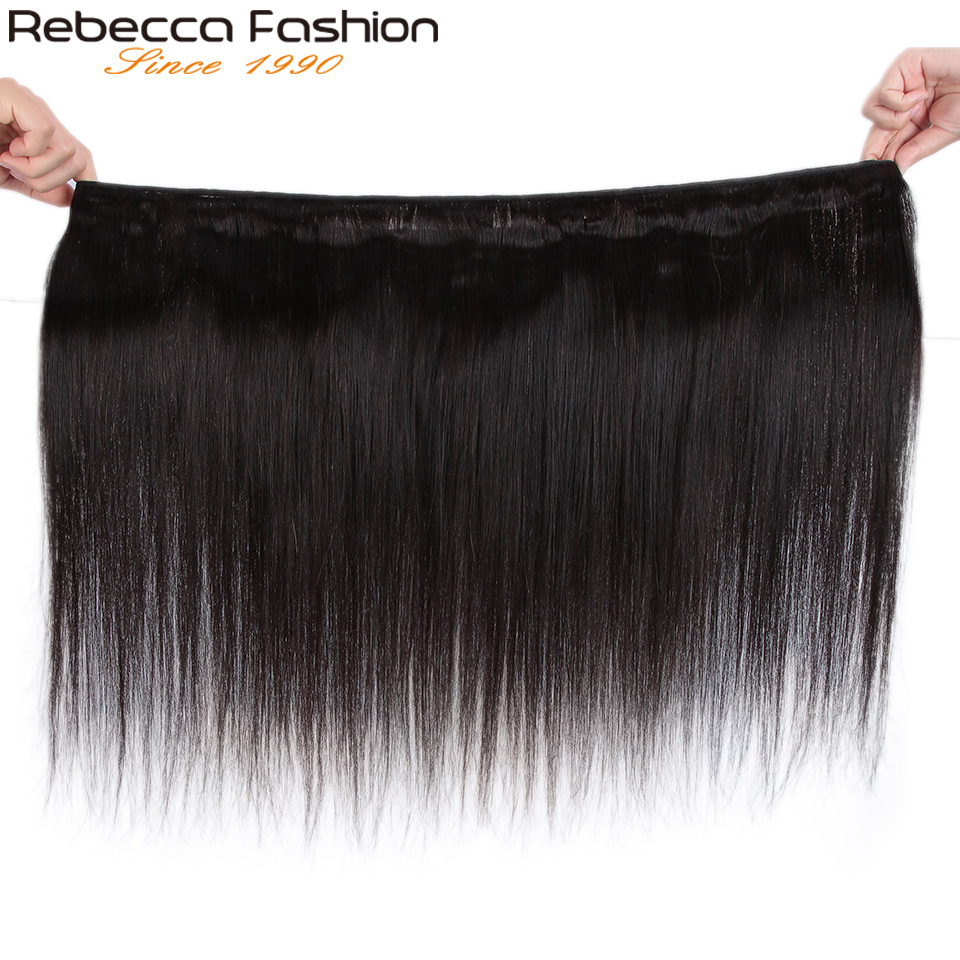 Image 3 - Rebecca Straight Hair Bundles Deals Peruvian 100% Human Hair Weave Bundles 8 To 28 Inch Straight Human Hair ExtensionsSalon Bundle Hair   -
