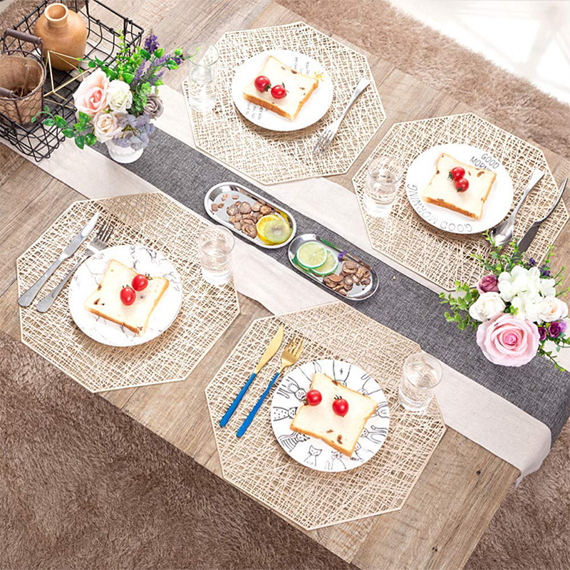 Blue Wise Rise Table Mats Washable Environmental PVC Dining Place Mats Heat Resistant Non-Slip Cross Weave Placemats Sets of 6