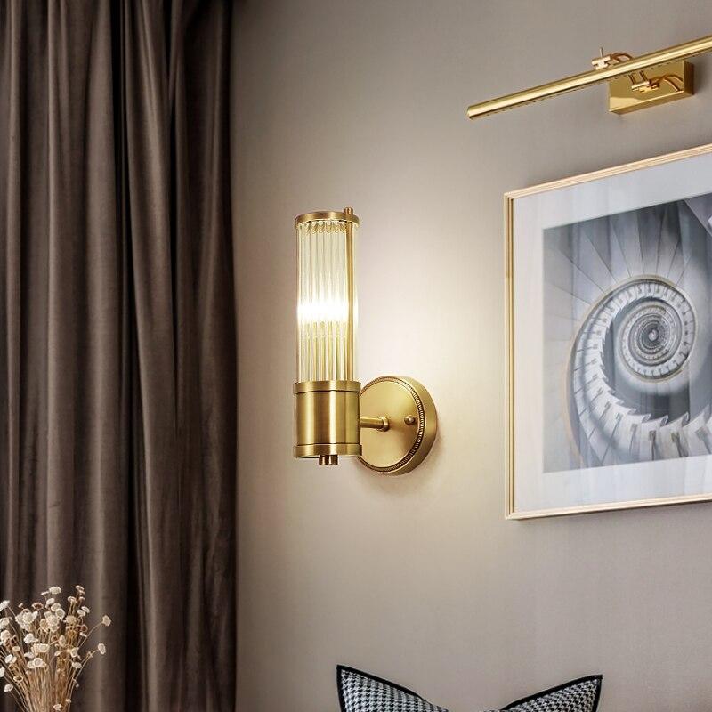 Preto de cobre moderno lâmpada parede para o quarto lâmpada cabeceira sala estar corredor lâmpadas parede do banheiro luz iluminação casa luminárias - 2
