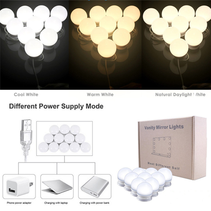 Cosmetic-Mirror-Lights-Kit Makeup-Light 10-Led-Mirror-Bulbs Hollywood-Style Portable