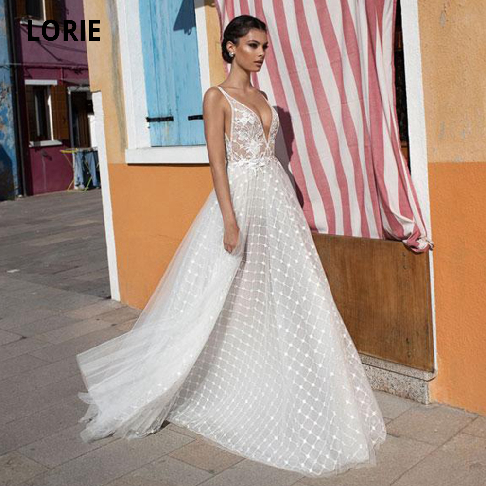 LORIE Sleeveless V-neck Wedding Dresses Lace Boho Tulle Bride Gown Beach Party Gown Plus Size Open Back A-line Abito Da Sposa