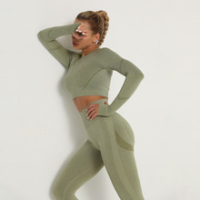 Seamless Women Gym Set Long Sleeve Top High Waist Belly Control Sport Leggings Gym Clothes Seamless Sport Suit Sexy Booty Girls cheap LAISIYI CN(Origin) Spring Autumn Short Ages 18-35 Years Old O-Neck Elastic Waist Spandex Nylon Pullover Casual Regular Full