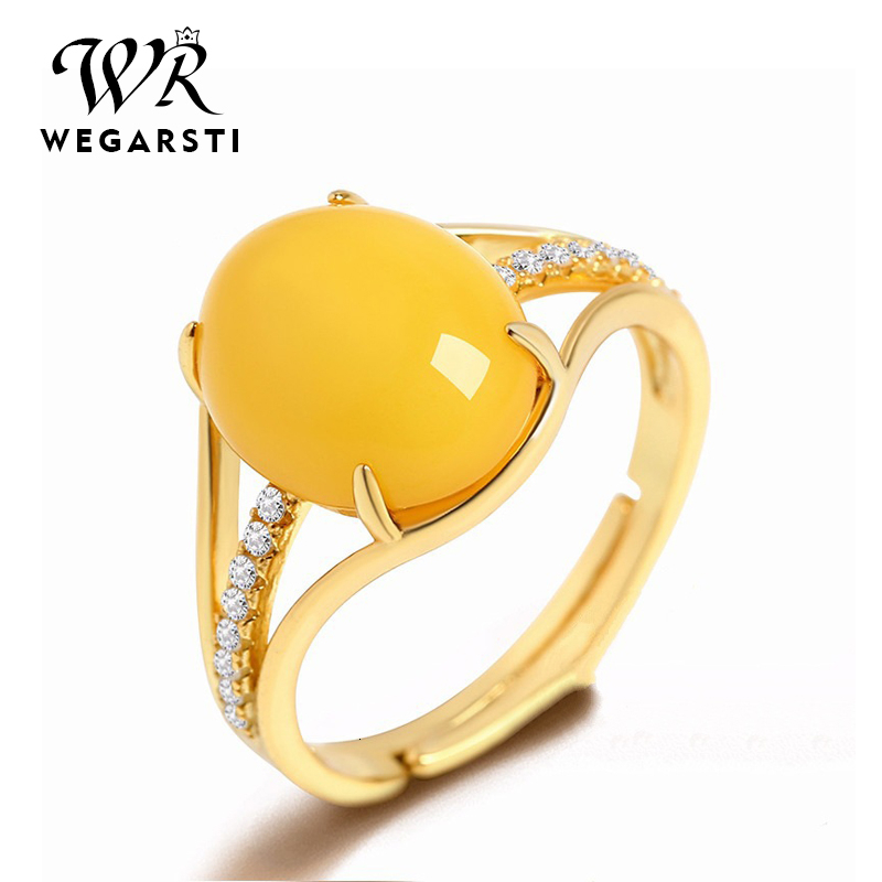 WEGARASTI Silver 925 Jewelry Rings For Women Fine Jewelry Natural Yellow Amber Ring Adjustable Size Wedding Gift