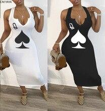 CM.YAYA summer women black queen poker card sleeveless v-neck tank bodycon midi mid-calf dress club sexy party pencil dresses