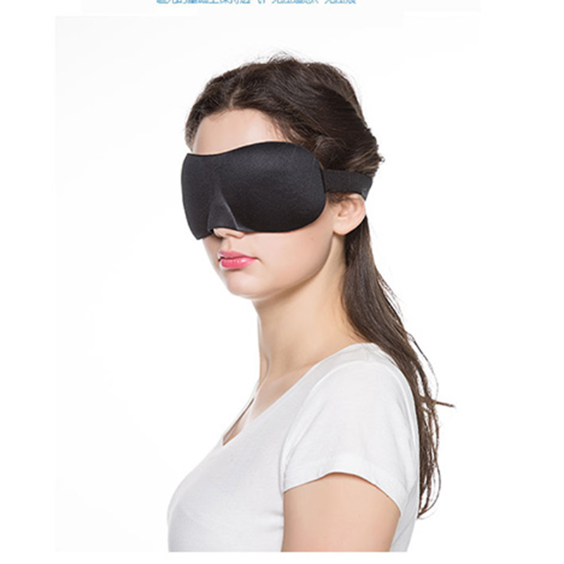 Black 3D Sleep Mask 23*7.5cm Lightweight Soft Contoured Sleep Eye Mask Night Care Breathe Massager Eyes Cover Adjustable Size