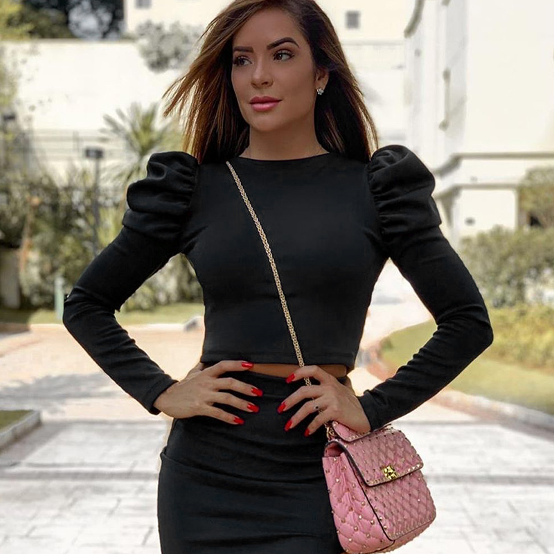 Women Fashion Puff Shoulder Long Sleeve O-Neck See Crop Top Blouse
