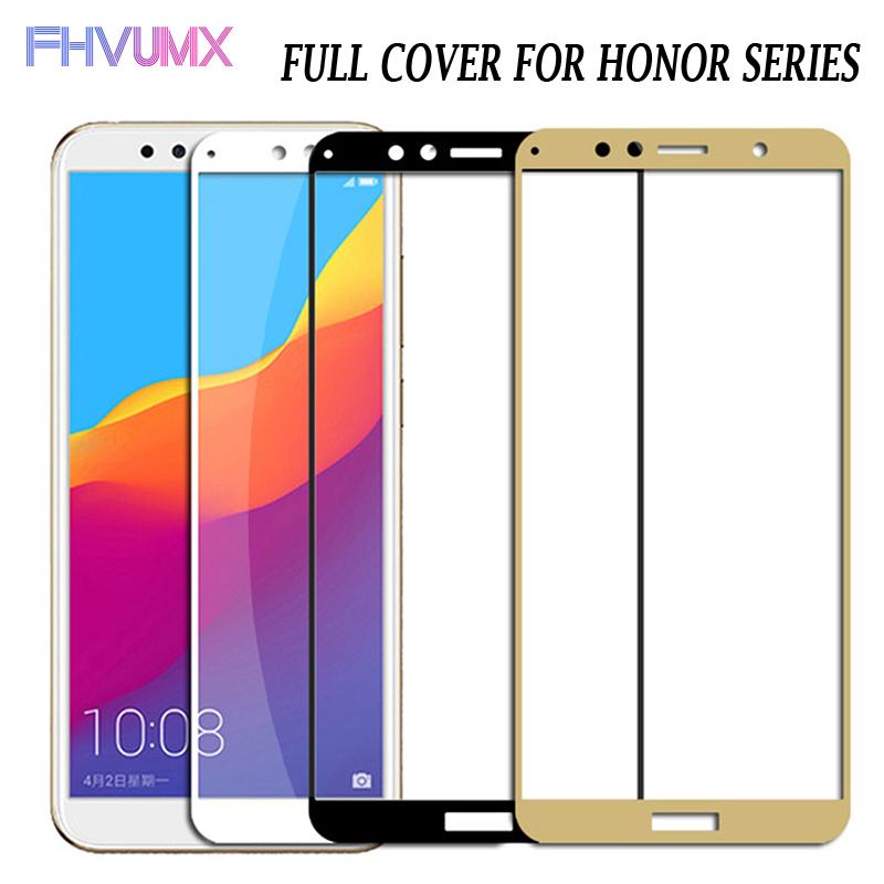 9D Protective Glass On The For Huawei Honor 7A 7C 8A 8C 8X 9X Tempered Glass For Honor Play 8 9 Lite Full Cover Screen Protector