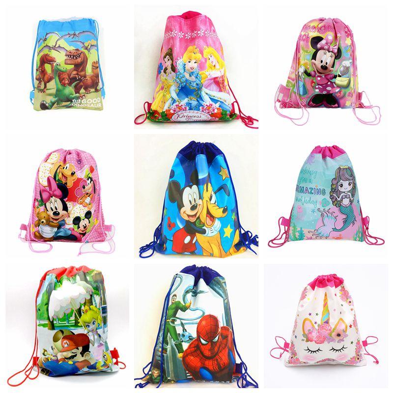 10pcs Carttoon Minnie/Mickey/Princess/Mario/Spiderman Drawstring Bag Kids School Backpack Unicorn Party Supplies Gift Bag