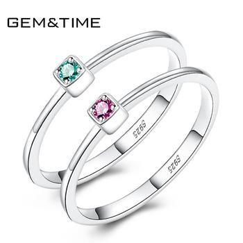 Gem&Time Real 925 Sterling Silver Ring Gree Red Topaz Rings For Women Gemstone Engagement Jewelry Anillos Mujer
