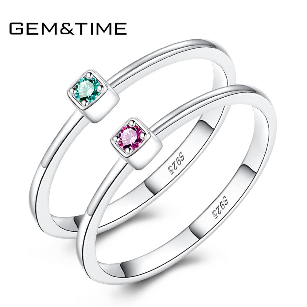 Gem&Time Real Sterling Silver 925 Ring Ruby Red Topaz Rings For Women Gemstone Engagement Rings Silver 925 Jewelry Anillos Mujer