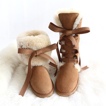 Women Boots Sheepskin Flats-Shoes Lace-Up Winter No Fur Real-Fur 100%Wool Genuine