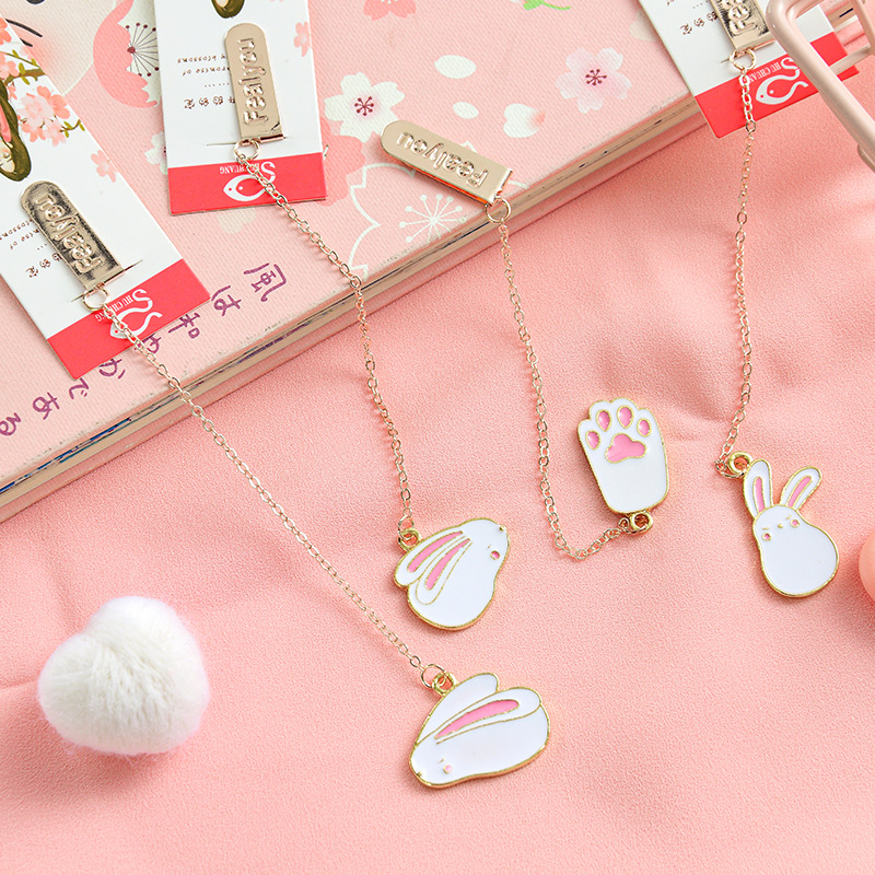 Little Rabbit Girl Heart Pendant Bookmark Stationery School Office Supply Escolar Papelaria