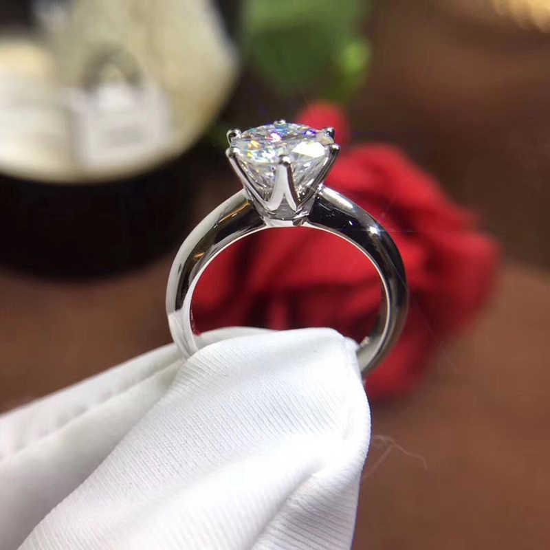 YANHUI ที่มีใบรับรอง 18KRGP แสตมป์ PURE สีขาวทองรอบแหวน Solitaire 8 มม.2.0ct หินแหวนสำหรับผู้หญิง ZSR168